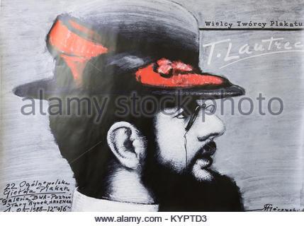 Wielcy Tworcy Plakatu, Toulouse Lautrec exhibition. - Stock Photo