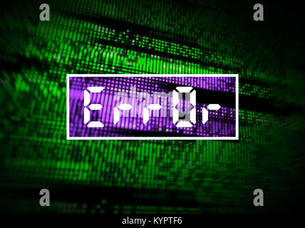 Error message, corrupted computer data loss with glitch effects over digital binary code. IT industry, cybersecurity - Stock Photo