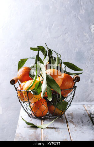 Ripe organic clementines or tangerines with leaves in basket standing on white wooden plank table with gray wall - Stock Photo