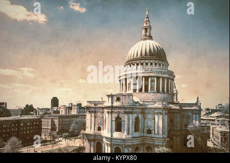 St. Paul's Cathedral in London, aerial view, tinted image onm old textured paper - Stock Photo