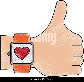 Hand with Smartwatch heartbeat pulse - Stock Photo