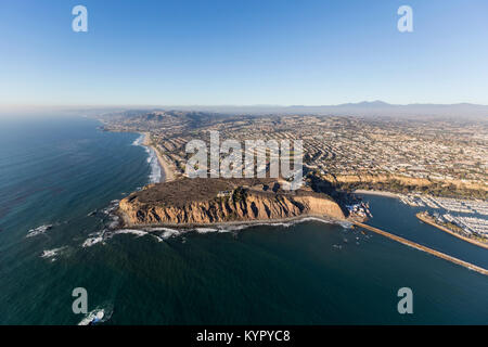 Aerial view of Dana Point on the Southern California pacific coast. - Stock Photo