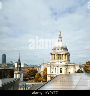London cityscape with St Paul's Cathedral in Autumn. Panoramic toned image, square composition. - Stock Photo