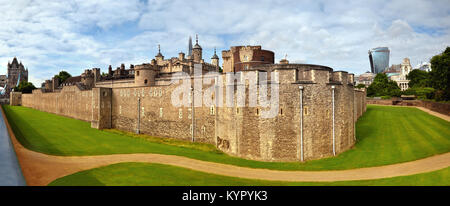 Panoramic image of Tower of London with dry moat and outer curtain wall in London, England, UK - Stock Photo