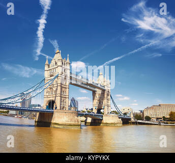 Tower Bridge on a bright sunny day in London, England, UK. Panoramic image. - Stock Photo