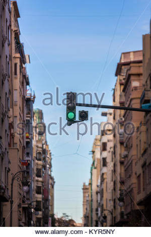 Traffic lights in a street in Valencia, Spain - Stock Photo