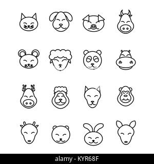 Different animals vector. Icons set pet. - Stock Photo