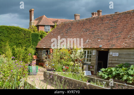 Great Dixter House and Gardens - Nursery shop in late summer, end of August, Northiam, Rye, East Sussex, England, - Stock Photo