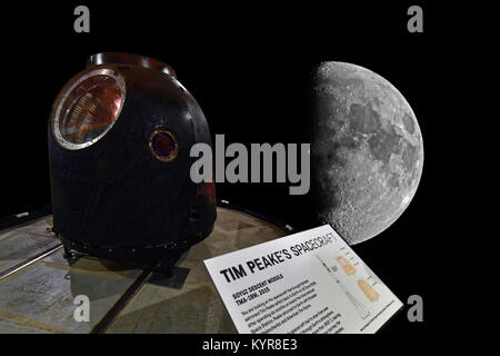Tim Peakes Soyuz Space Capulse against the moon background at Shildon - Stock Photo