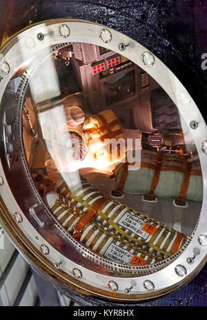 Tim Peakes Soyuz Russian Space Craft capsule window and parachute detail Shildon Railway Museum - Stock Photo