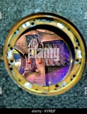Tim Peakes Soyuz Russian Space Craft capsule window thruster switch detail Shildon Railway Museum - Stock Photo