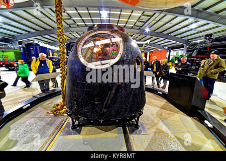 Tim Peakes Soyuz Russian Space Craft capsule Shildon Railway Museum - Stock Photo