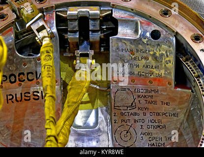 Tim Peakes Soyuz Space Capsule parachute and exit details in Russian Shildon Railway Museum - Stock Photo
