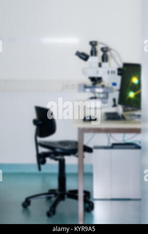 Scientific background with modern microscope station out of focus - Stock Photo
