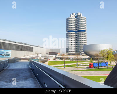 MUNICH, GERMANY-APRIL 08, 2017: View of the headquarters of BMW and the BMW Museum in Munich in a spring sunny day. - Stock Photo