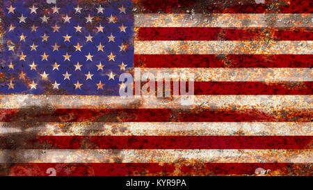 USA flag on rusty metal background texture - Stock Photo