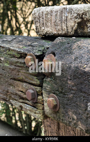 Closeup of decayed worn wooden fence - decaying wooden texture with shollow DOF - Stock Photo