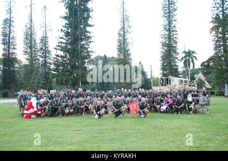 SCHOFIELD BARRACKS — Approximately 130 Soldiers and family members from 95th Engineer Company (Clearance), 84th - Stock Photo
