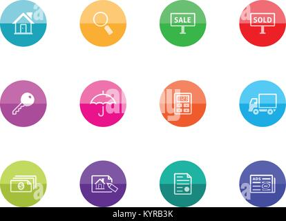 Real estate icon series in color circles. Vector illustration. - Stock Photo