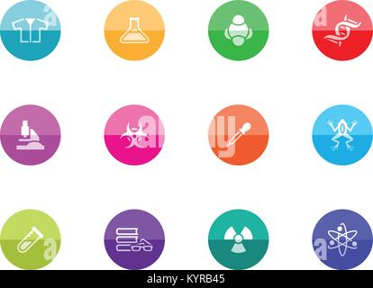 Science icons in color circles. Vector illustration. - Stock Photo
