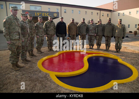Secretary of the Army Mark T. Esper poses with the Soldiers of the 19th Expeditionary Sustainment Command at U.S. - Stock Photo