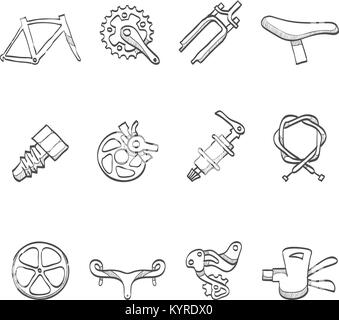 Bicycle part icons series in sketch. - Stock Photo