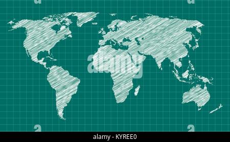Scribbled world map on green background. - Stock Photo