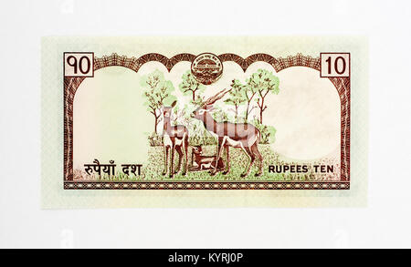 Nepal 10 Rupee bank note - Stock Photo