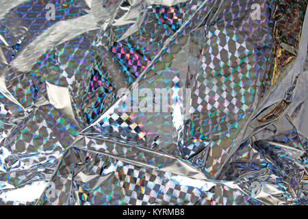 Holographic foil texture pattern. Silver rainbow shine. Reflective material. - Stock Photo