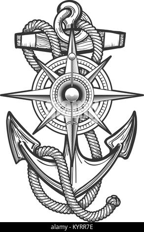 Anchor With Ropes And Nautical Vintage Compass Drawn In Engraving Style Vector Illustration