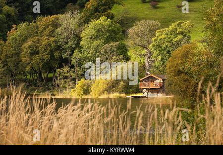 The boat house near Pooley Bridge on Ullswater Lake District Cumbria - Stock Photo