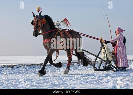 The Netherlands, Hindeloopen, Antique horse sledge and Friesian horse. Man and woman in traditional costume. Winter. - Stock Photo