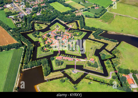 The Netherlands, Vlagtwedde, The fortified, star shaped village of Bourtange. Aerial. - Stock Photo