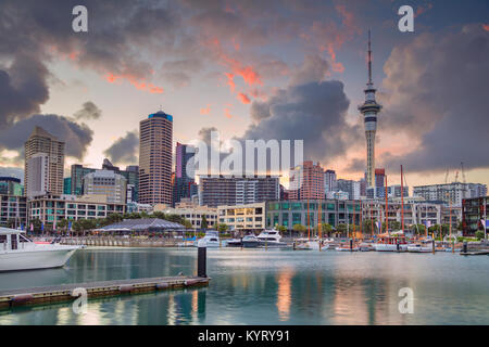 Auckland. Cityscape image of Auckland skyline, New Zealand during sunrise. - Stock Photo