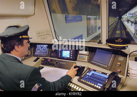 Milan (Italy) suburban railways, driving place on a commuter train - Stock Photo