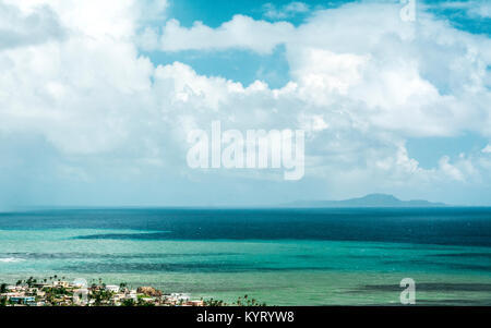 A view of Vieques island from Yabucoa's hills. - Stock Photo