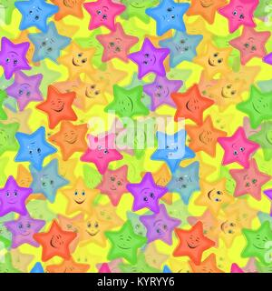 Seamless Pattern, Colorful Stars Smiley - Stock Photo