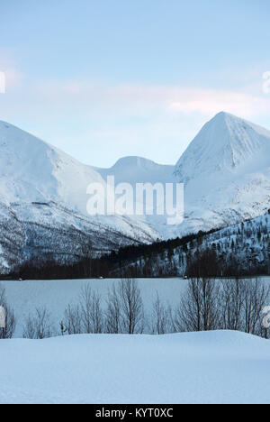 Snow Covered Mountains In Norway - Stock Photo