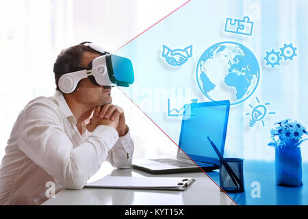 Concept of businessman imagining success in business in an office watching a graphical representation with positive - Stock Photo