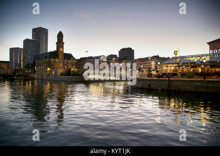 MALMO, SWEDEN - AUGUST 16, 2016: View of beautiful night scene and Bagers bro bridge from street Norra Vallgatan - Stock Photo