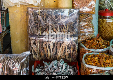 Packets of dried seahorses, a local delicacy in Binh Tay OR Hoa Binh Market, Chinatown (Cholon), District 5, Saigon - Stock Photo
