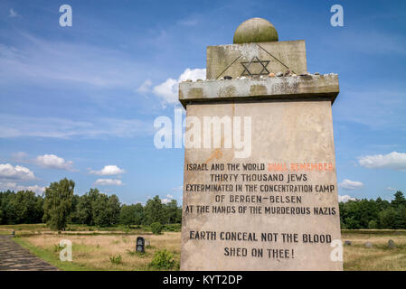 Israel and the world shall remeber thirty thousand jews exterminated in the concentration camp of Bergen-Belsen - Stock Photo