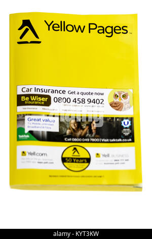 Yellow Pages printed book telephone directory which is being discontinued. - Stock Photo