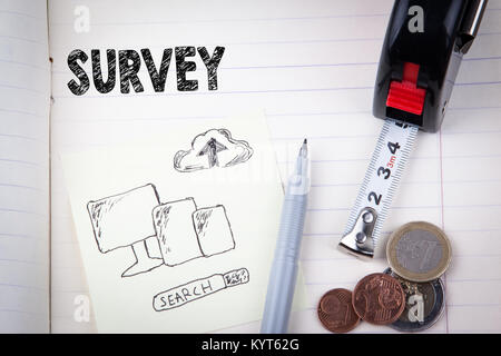 survey concept. social media, digital marketing and internet business - Stock Photo