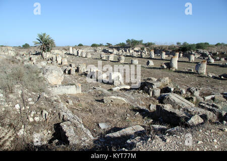 Ruins of ancient temple in Salamis, North Cyprus - Stock Photo