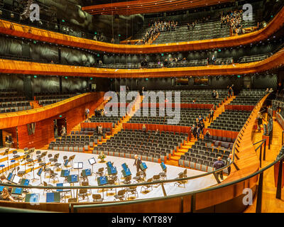 KATOWICE, POLAND – FEBRUARY 2, 2017: Interior and auditorium of modern concert hall of the National Symphonic Orchestra - Stock Photo