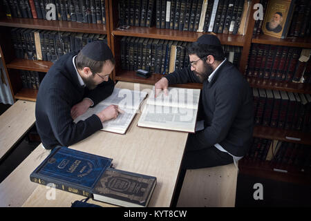 Two religious Jewish young men studying Talmud together in a Chevrusa, an alternative to classroom learning. In - Stock Photo