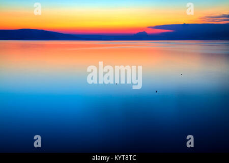 Blue hour at adriatic sea in Croatia - Stock Photo