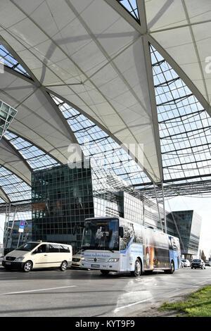 Bus, Airport Line, Munich Airport, Landshut, Central Area Station, Terminal 1, mac, munich airport center, Munich - Stock Photo