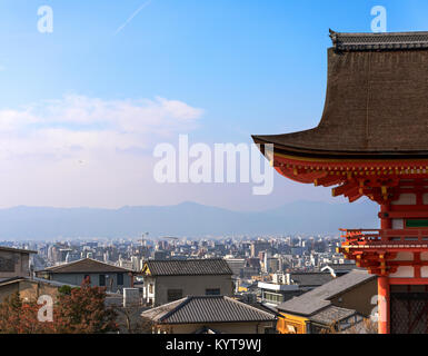 Jyoto, Japan, Nov. 7, 2017: View over Kyoto from the Kiyomizu-dera temple in the eastern part of Kyoto. - Stock Photo